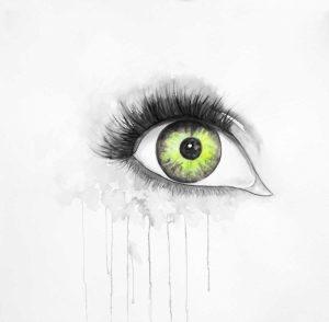 Green Eye in Watercolor