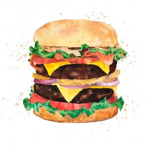 Watercolor All Dressed Double Cheeseburger