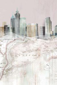 Blushing Manhattan Map I