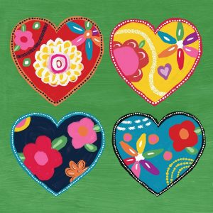 Multi Painted Hearts