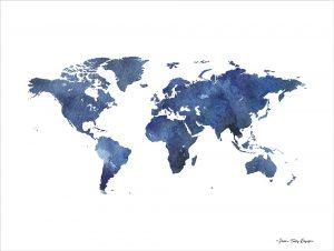 Watercolor World in Dark Blues