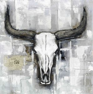 BULL SKULL ON AN INDUSTRIAL BACKGROUND