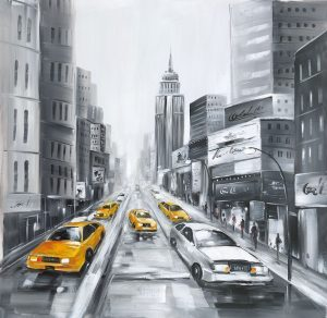 GRAYSCALE STREET WITH YELLOW CARS