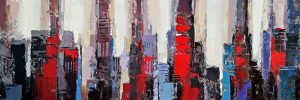 ABSTRACT RED AND BLUE BUILDINGS