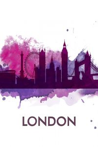 PURPLE SILHOUETTE OF LONDON