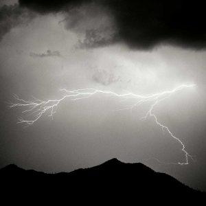 Mountain Lightning Sq. BW