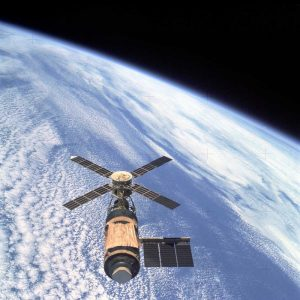 Skylab Orbital Workshop, viewed from Skylab 4 CSM, 1974