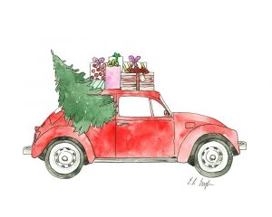 Red Car with Presents