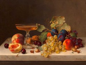Still life with summer fruits and champagne