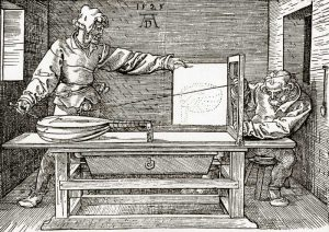 A Man Drawing A Lute