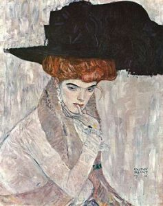 Lady With Black Feather Hat 1910
