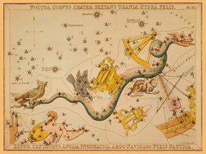 Noctua, Corvus, Crater, Sextans Uraniae, Hydra, Felis, Lupus, Centaurus, Antlia Pneumatica, Argo Nav