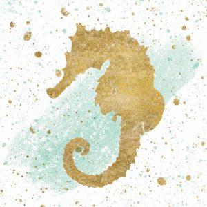 Silver Sea Life Aqua Seahorse