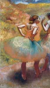 Two Dancers In Green Skirts