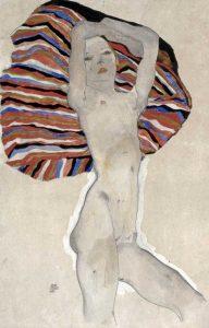 Madchenakt gegen farbiges Tuch, 1911