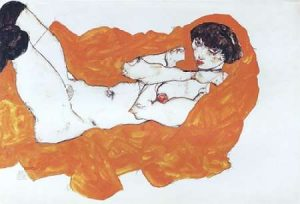 Reclining Female Nude On Red Drape