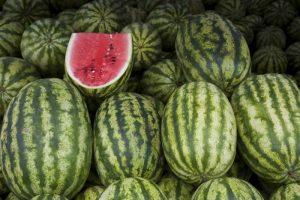 UAE, Abu Dhabi Watermelons on display at market