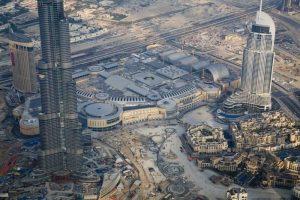 UAE, Dubai Aerial downdown cityscape