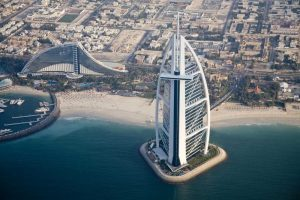 UAE, Dubai Aerial Cityscape and Waterfront