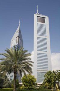 UAE, Dubai View of Jumeirah Emirates Towers