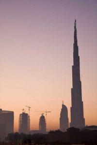 UAE, Dubai Cityscape at sunrise
