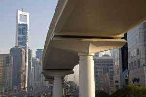 UAE, Dubai Metro transit along Sheik Zayed Road