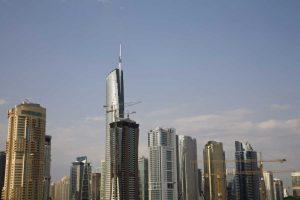UAE, Dubai Construction amid skyscrapers