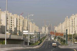 UAE, Dubai Road to the Palm Jumeirah complex