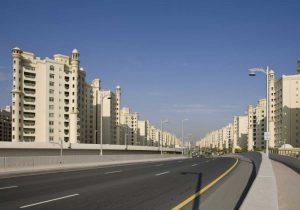 UAE, Dubai Road into the Palm Jumeirah