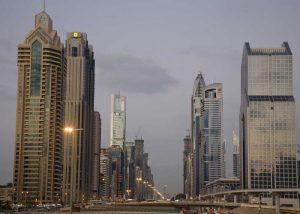 UAE, Dubai Towers along Sheik Zayed Road