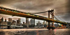 Manhattan Bridge and New York City Skyline, NYC