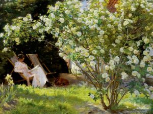 Seated in the garden of roses