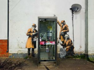 Fairview Road and Hewlett Road in Cheltenham, Gloucestershire (graffiti attributed to Banksy)