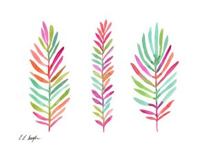 Three Colorful Palm Leaves