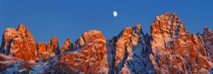 Pale di San Martino and moon, Italy