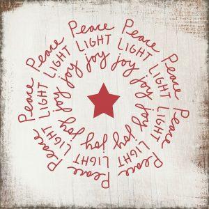 Peace, Light, Joy on Wood