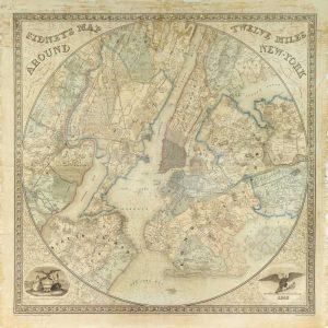 Twelve Miles around NY Map, 1849