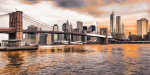 Brooklyn Bridge and Lower Manhattan at sunset, NYC