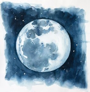 Watercolor Blue Moon