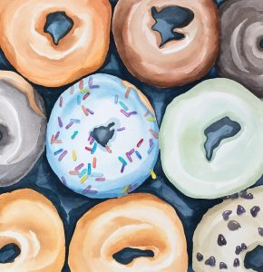 Watercolor Doughtnuts with Icing