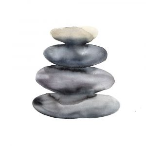 Watercolor Stacked Rocks