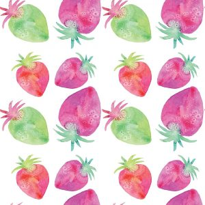 Pink and Green Strawberry Pattern