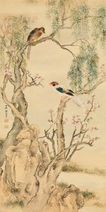 Birds on flowered branches