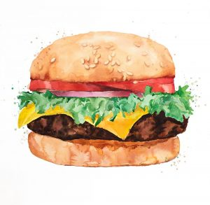 Watercolor All Dressed Cheeseburger