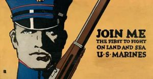 Join me – the first to fight on land and sea – U.S. Marines, 1914/1918