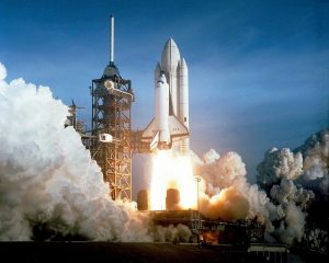 Launch of the First Flight of Space Shuttle Columbia, 1981