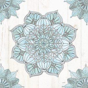 Mandala Morning V Blue and Gray