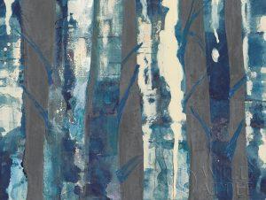 Deep Woods III Indigo on Gray