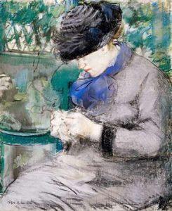 Girl Sitting in the Garden Knitting, 1879