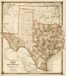 County Map of Texas, and Indian Territory, 1874 – Decorative Sepia